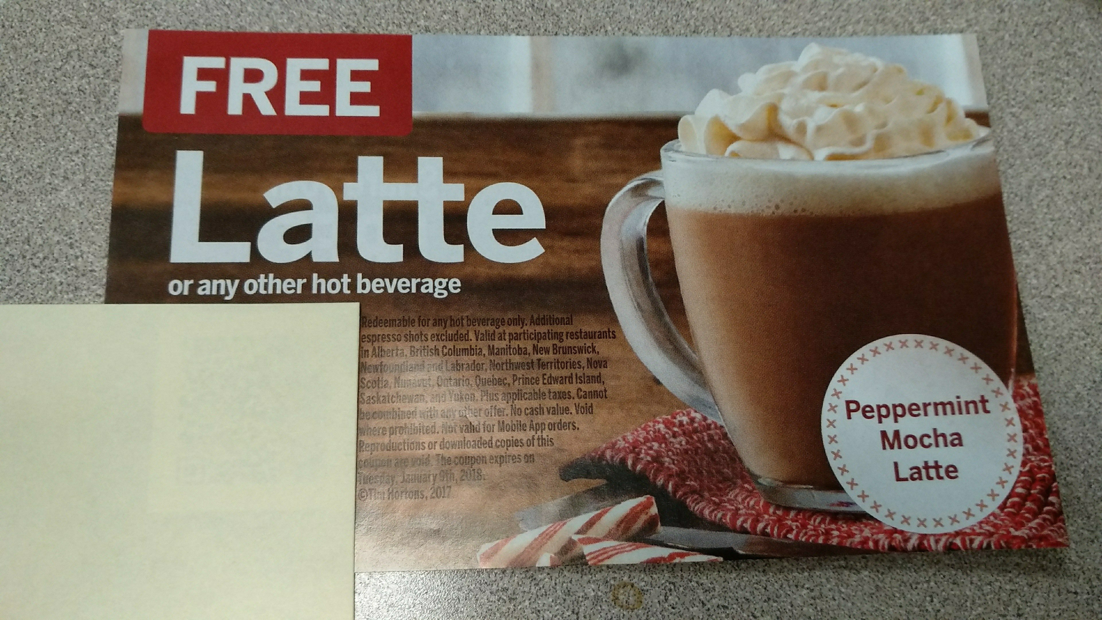 Tim Hortons] HOT! Tim Hortons free Latte or Hot Beverage coupon with