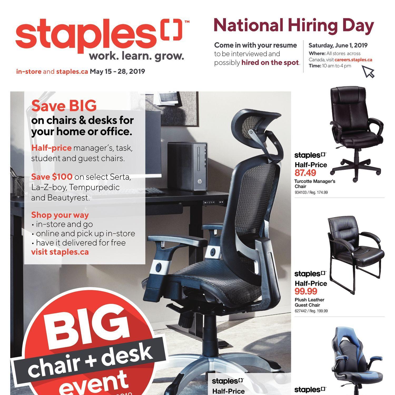 c4bdb68b859 Staples Weekly Flyer - 2 Weeks of Savings - Big Chair & Desk Event - May 15  – 28 - RedFlagDeals.com