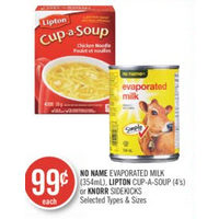 No Name Evaporated Milk, Lipton Cup-A-Soup Or Knorr Sidekicks