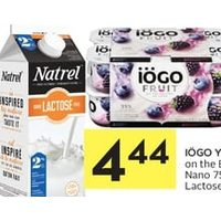 Iogo Yogurt Fruit On The Bottom, Nano Or Natrel Lactose Free Milk