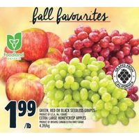Green, Red Or Black Seedless Grapes, Extra Large Honeycrisp Apples