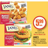 Janes Pub Style Chicken Nuggets, Burgers Or Popcorn Chicken