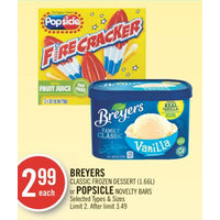 Breyers Classic Dessert Or Popsicle Novelty Bars