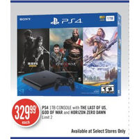 PS4 1TB Console With The Last Of US, God Of War And Horizon Zero Dawn