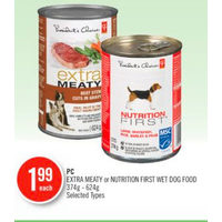 PC Extra Meaty Or Nutrition First Wet Dog Food