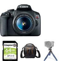 Canon EOS Rebel T7 Camera Body With 18-55MM IS II Lens Kit, Mini Tripod, 64GB Memory Card And Compact Bag