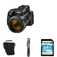 Nikon Coolpix P1000 4K Camera With 3000mm Zoom, Tripod 64GB Memory Card And Nikon DSLR Holder Bag