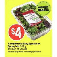 Compliments Baby Spinach Or Spring Mix