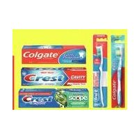 Colgate Max Fresh, Regular or Crest Complete, Cavity or Tartar Protection Toothpaste or Oral-B or Colgate Manual Toothbrushes