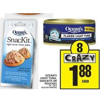 Ocean's Light Tuna, Snackits or Pouches