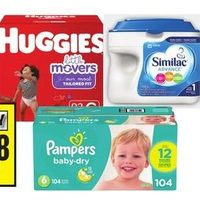Pampers or Huggies Econo Diapers, Similac Advance Infant Formula