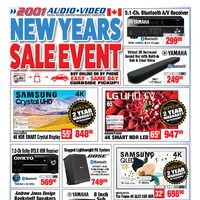 2001 Audio Video - 2 Weeks of Savings - New Years Sale Event Flyer