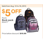 2032d3788cf Costco Roots Back Pack -  14.99 ( 5.00 off) Roots Back Pack -  14.99 ( 5.00  off)
