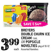 Breyers Double Churn Ice Cream Or Popsicle Novelties   - $3.99 (Up to $4.00  off)
