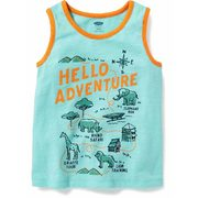 """hello Adventure"" Graphic Tank For Toddler Boys - $6.99 ($5.95 Off)"