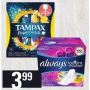 Always Pads, Liners or Tampax Tampons Includes Infinity, Radiant & Pearl - $3.99