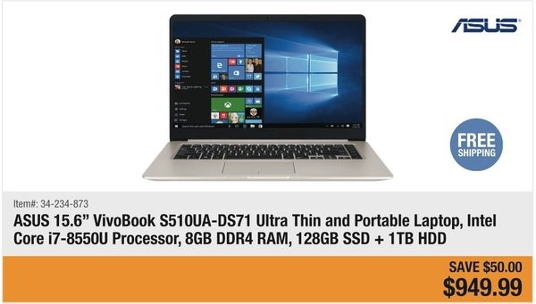 Newegg: ASUS VivoBook S510UA-DS71 Ultra Thin and Portable