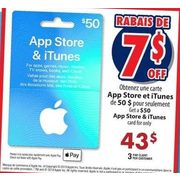App Store & Itunes Card - $43.00 ($7.00 off)