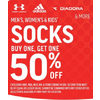 Adidas Diadora & More Men's Women's & Kids Socks - BOGO 50% off