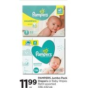 Pampers Jumbo Pack Diapers or Baby Wipes Refill - $11.99