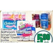 Cashmere Bathroom Tissue, SpongeTowels Paper Towels, Scotties Facial Tissue - $5.99