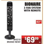 "Bionaire 3 Fan System With Remote-43"" - $69.99"