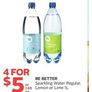 Be Better Sparkling Water Regular, Lemon Or Lime - 4/$5.00