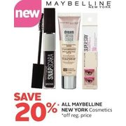 All Maybelline New York Cosmetics - 20% off