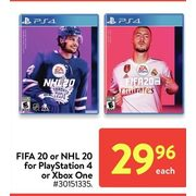 FIFA 20 Or NHL 20 For Playstation 4 Or Xbox One  - $29.96