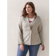 Semi-fitted Linen Blazer - Addition Elle - $49.97 ($59.03 Off)